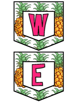 Pineapple and Flamingo Word Wall and Welcome Set
