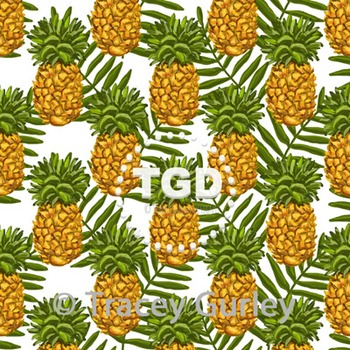 Pineapple and Palm Frond Pattern Repeat on White digital p