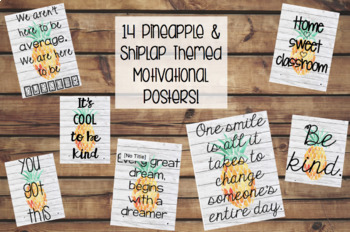 Pineapple and Shiplap Themed Motivational Classroom Posters