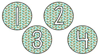 Pineapple and Stripes Number Labels 1-30