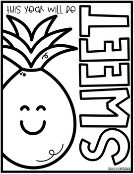 Pineapple coloring pages FREEBIE (English & Spanish)
