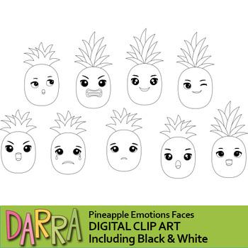 Pineapple emotions clip art, feelings clipart