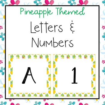 Pineapple letters and numbers for bulletin board, calendars, & class management