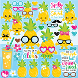 Pineapple party clipart commercial use, vector graphics  - CL1084