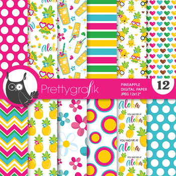 Pineapple party papers, commercial use, scrapbook papers - PS862