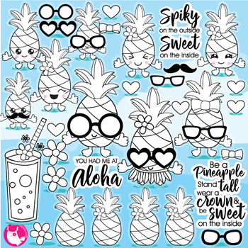 Pineapple party stamps,  commercial use, vector graphics, images  - DS1084