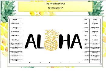 Pineapple spelling contest