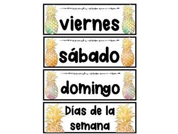 Pineapple themed Calendar ! IN SPANISH