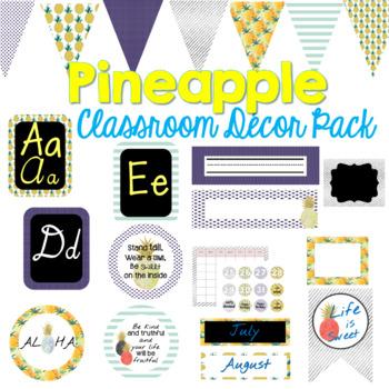 Pineapple Classroom Decor Bundle (Editable)