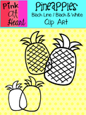 Pineapples Clip Art: Black Line and Black and White