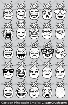 Pineapples Emoji Clipart Faces / Cute Pineapple Emojis Emotions Expressions