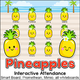 Pineapples Theme Attendance with Lunch Count for Interactive Whiteboards