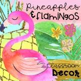 Pineapples and Flamingos Classroom Decor Editable
