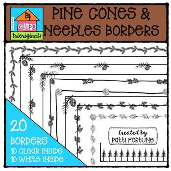 Pinecones and Needles Borders  {P4 Clips Trioriginals Digital Clip Art}