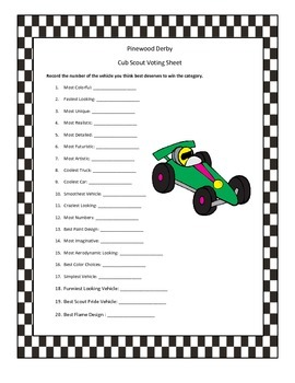 Pinewood Derby Scout Categories