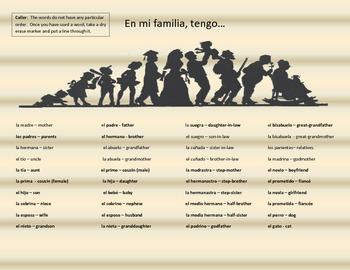 Ping Game - La Familia - Family Members - Spanish - Review Family