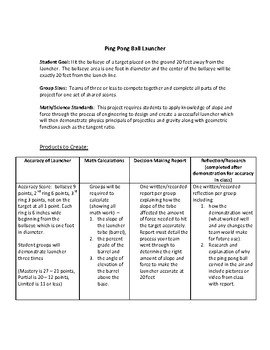 Ping Pong Ball Launcher Project and Rubric