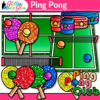 Rainbow Ping Pong Clip Art {Sports Equipment for Physical Education Teachers}