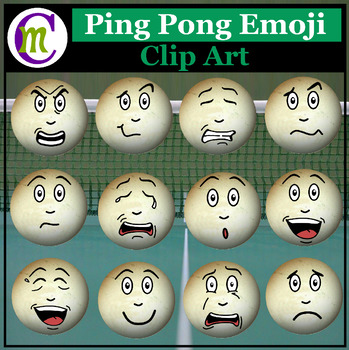 Ping Pong Emojis Clipart #1 | Sports Game Emotions Clip Art