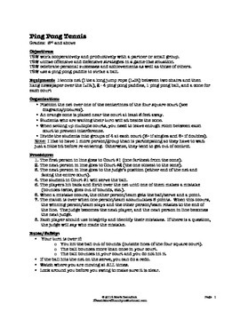 Ping Pong Tennis - Large Group PE Activity