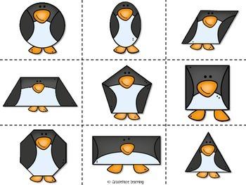 Pingüinos de figuras – 2D Shapes Math Centers for Bilingual Students - Spanish