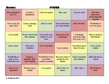 Pingo Get to Know You Bingo!