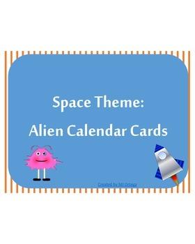 Space Theme: Pink Alien Calendar Cards