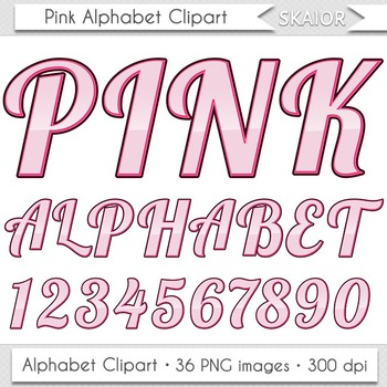 Pink Alphabet Clipart Valentines Alphabet Letters Clip Art Numbers Digital Text