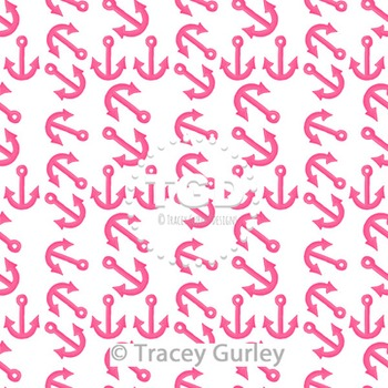 Pink Anchor Pattern Repeat on White digital paper Printable Tracey Gurley