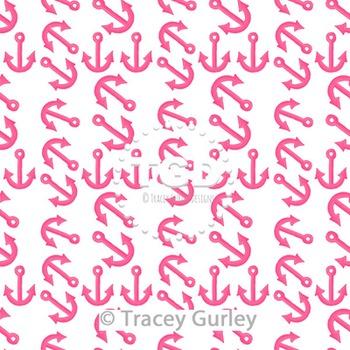 Pink Anchor Pattern Repeat on White digital paper Printabl