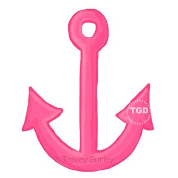 Pink Anchor - Pink Anchor clip art, beach art Printable Tracey Gurley Designs