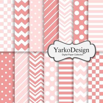 Pink And Blush Basic Geometric Digital Paper Set, 14 Digital Paper Sheets