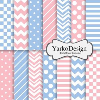 Pink And Blue Basic Geometric Digital Paper Set, 14 Digital Paper Sheets