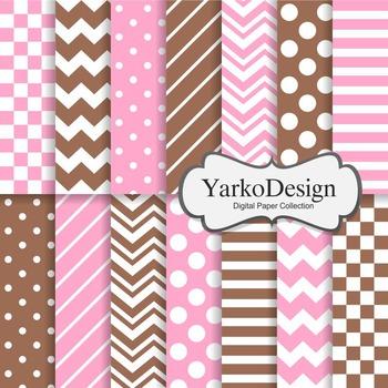 Pink And Chocolate Basic Geometric Digital Paper Set, 14 Digital Paper Sheets