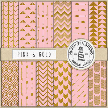 Pink And Gold Digital Paper, Gold Backgrounds