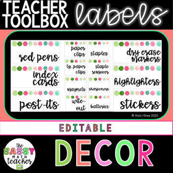 Pink And Green Teacher Toolbox Labels