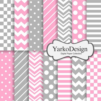 Pink And Grey Basic Geometric Digital Paper Set, 14 Digital Paper Sheets