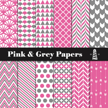 Pink And Grey Digital Paper Pack | Scrapbook Paper | Printable Backgrounds