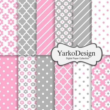 Pink And Grey Floral Digital Scrapbooking Paper Set, 12 Digital Papers
