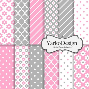 Pink And Grey Floral Digital Scrapbooking Paper Set, 12 Digital Papers