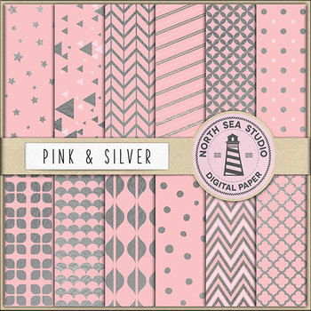Pink And Silver Paper, Pink Backgrounds, Shiny Silver Patterns