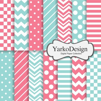 Pink And Turquoise Basic Geometric Digital Paper Set, 14 Digital Paper Sheets