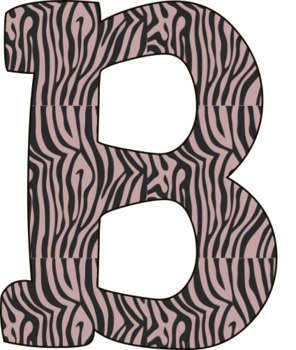 Pink Animal Print Alphabet Set Clipart  - capital letters, numbers - 300 DPI