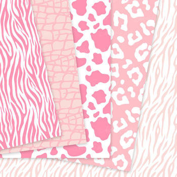 Pink Animal Prints Digital Paper baby girl safari patterns scrapbook background