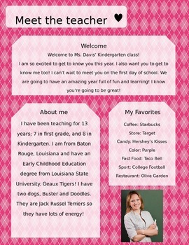 Pink Argyle Meet The Teacher Template **Editable**