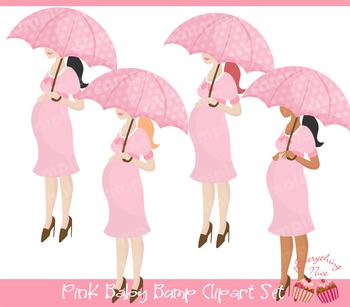 Pink Baby Bump Clipart Set