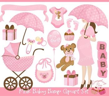 Pink Baby Bump Clipart Set