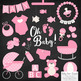 Oh Baby Clipart & Vectors Set in Pink