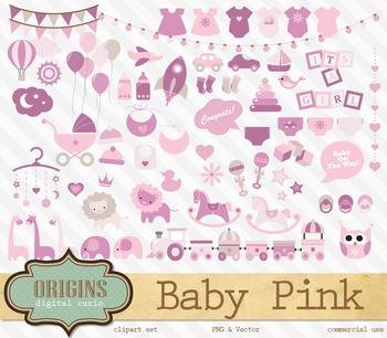 Pink Baby Shower Girl Vector Clipart Clip Art Embellishments