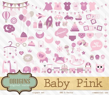 Pink Baby Shower Girl Vector Clipart Clip Art Embellishments